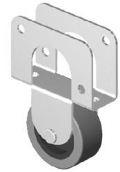 Колесная опора со скобой D=50мм без стопора 539Р обрезиненная
